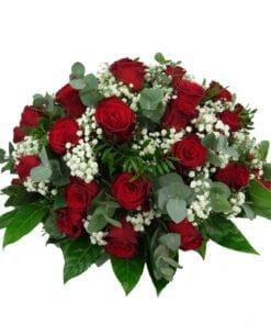 Biedermeier rouwstuk met rode rozen (99)