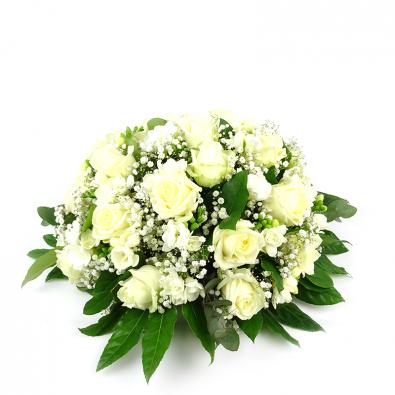 Duoplant - Biedermeier rouwstuk met witte rozen (100)