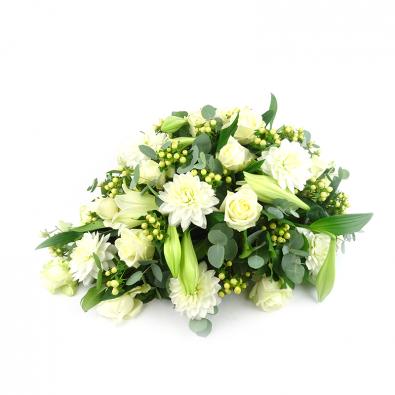 Duoplant - Rouwstuk in druppelvorm met dahlia en rozen