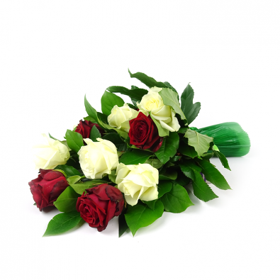 Klassiek rouwboeket met rode en witte rozen