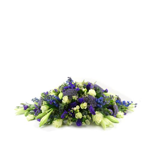 Ovaalvormig rouwstuk gemengde bloemen - Duoplant