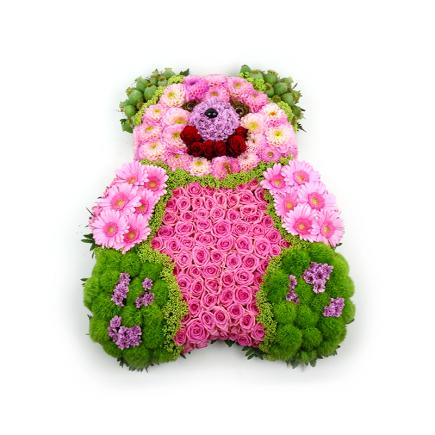 duoplant Rouwstuk in vorm van knuffel beer