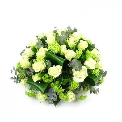 Duoplant rouwstuk Biedermeier rouwstuk met Rozen en viburnum