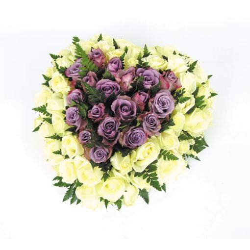 Duoplant rouwstuk hart met rozen