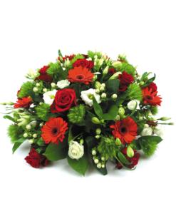 Biedermeier rouwstuk in rood en wit (96) Duoplant