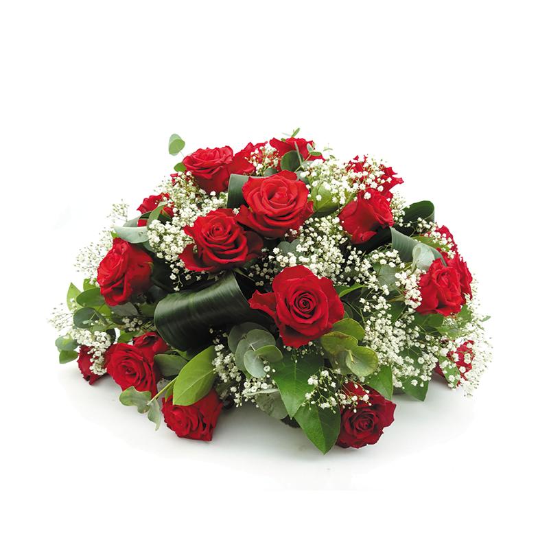 Biedermeier rouwstuk met rode rozen