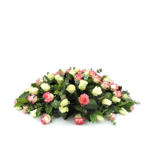 Ovaal rouwstuk met gemengde rozen - Duoplant