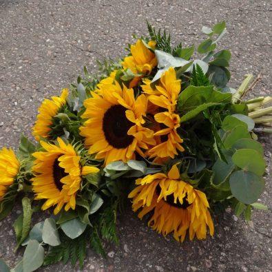 Duoplant rouwboeket met zonnebloemen