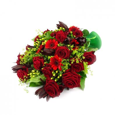Duoplant - Elegant rouwboeket met o.a. rode rozen (109)
