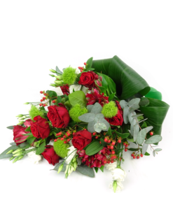 Stijlvol rouwboeket in rood/wit