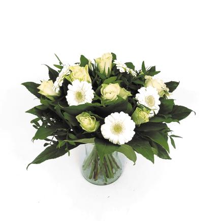 rozen en gerbera's wit - Duoplant