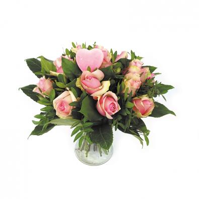 Valentijn boeket roze rozen - Duoplant