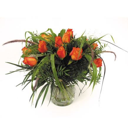 Boeket oranje rozen Duoplant