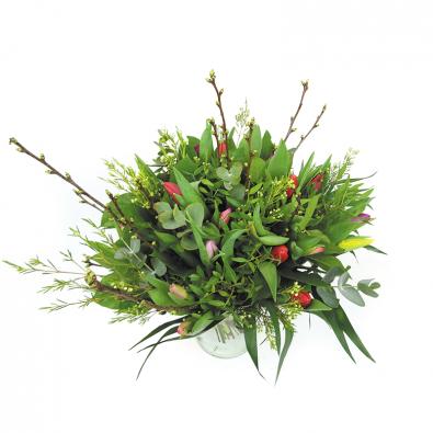 Duoplant - Tulpen gemengd in boeket met kersebloesem