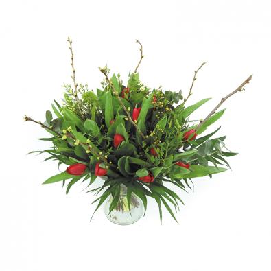Duoplant - Tulpen rood in boeket met kersebloesem