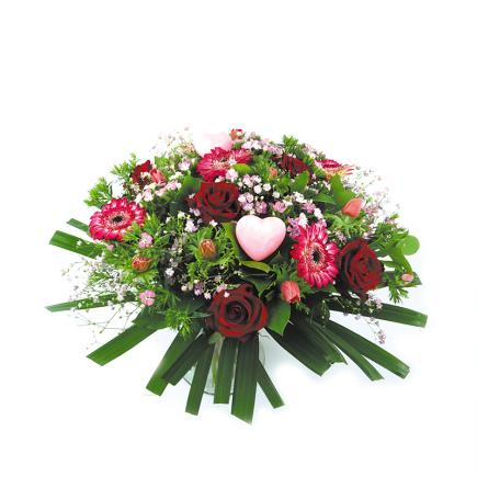 Valentijnsboeket roze met rood