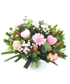 Valentijnsboeket roze