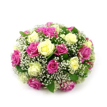 Duoplant - Biedermeier rouwstuk met roze en witte rozen (99)