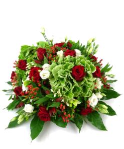 Biedermeier rouwstuk met rode rozen en hortensia