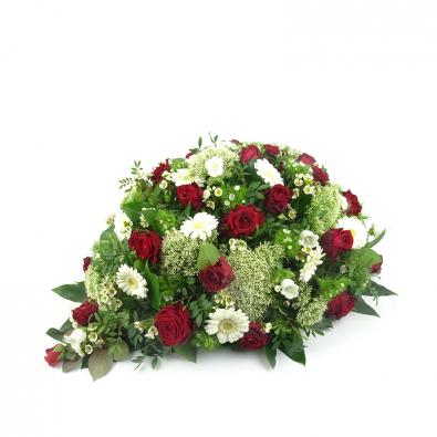 Rouwstuk in druppelvorm in rood met wit