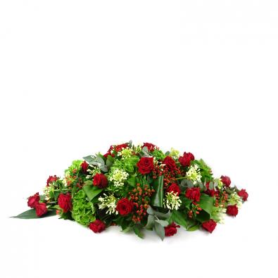 Duoplant ovaal rouwstuk met rode rozen