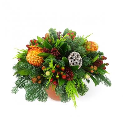 Duoplant - Kerststuk Koper:Oranje