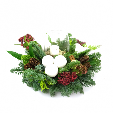 Duoplant - Kerststuk Round Christmas white