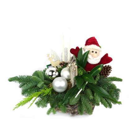 Duoplant - kerstman in mand
