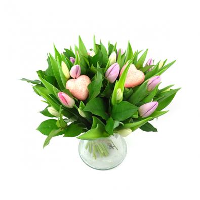 Pastel kleurig tulpenboeket