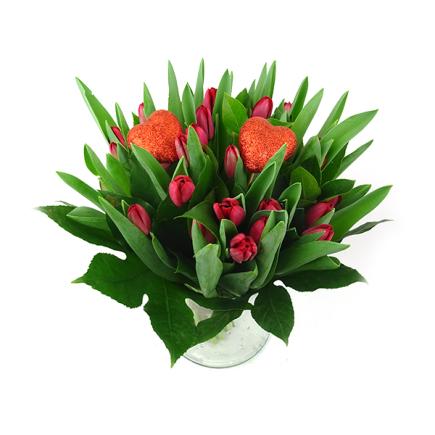 Valentijnsboeket met Tulpen rood