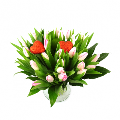 Valentijnsboeket met Roze tulpen